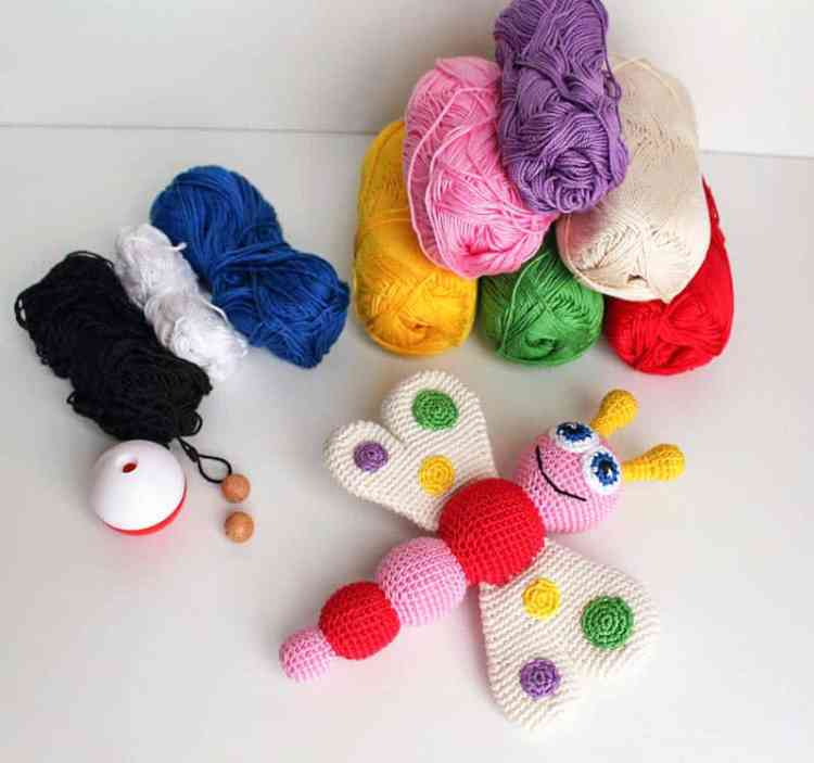 Crochet butterfly baby rattle - Free amigurumi pattern