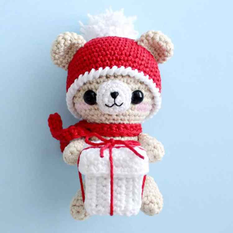 Crochet Teddy Bear With Christmas Gift Amigurumi Today