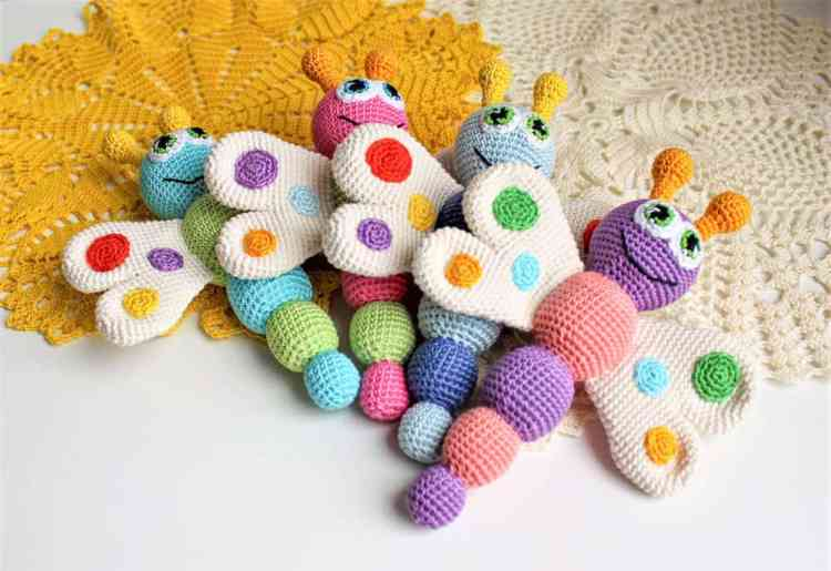 FREE Butterfly Baby Rattle Crochet Pattern