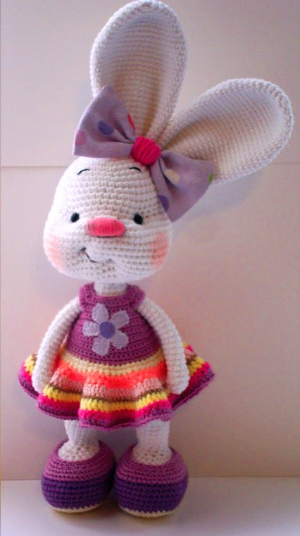 Pretty Bunny amigurumi in pink dress - Amigurumi Today | 761x426