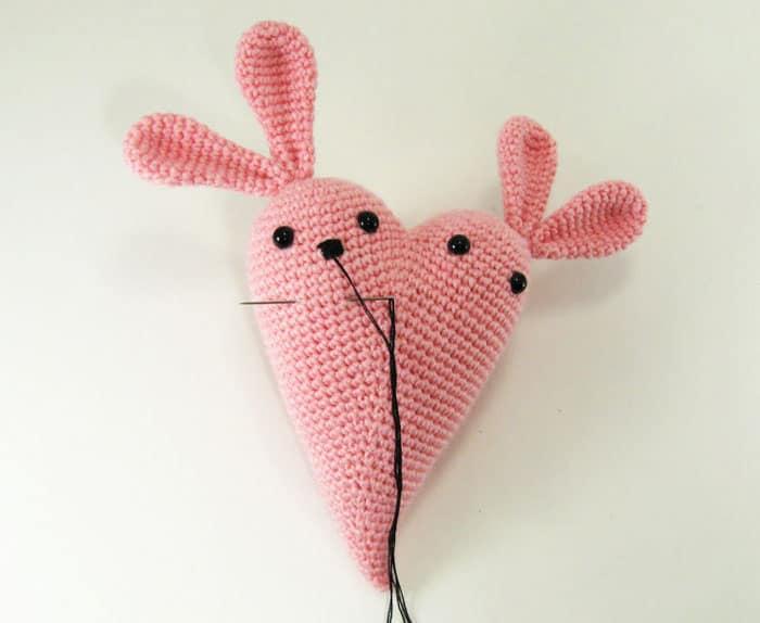 Crochet bunny heart amigurumi