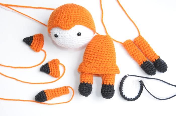 Amigurumi doll in fox costume crochet pattern - assembly