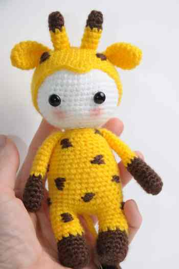 Amigurumi doll in giraffe costume