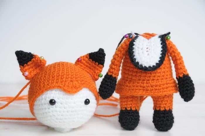 Doll in fox costume - free amigurumi pattern