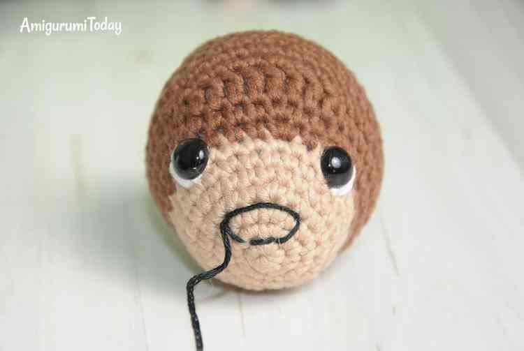 Timmy the Dog Amigurumi Pattern - embroidering nose