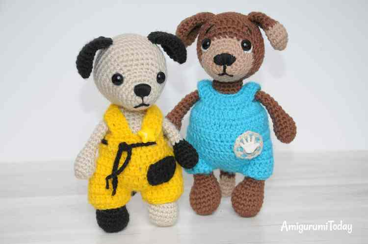Tommy the Dog in overalls - Free crochet pattern