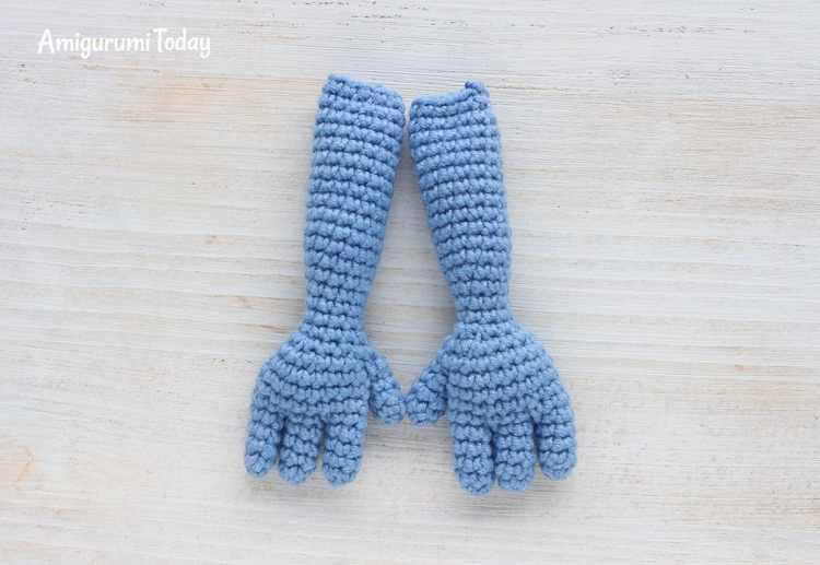 Crochet Smurfette amigurumi pattern - arms