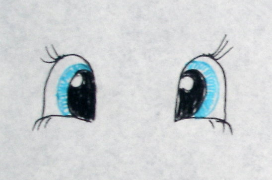 Draw your eyes on a piece of paper