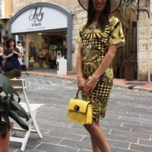 Yellow and black print dress