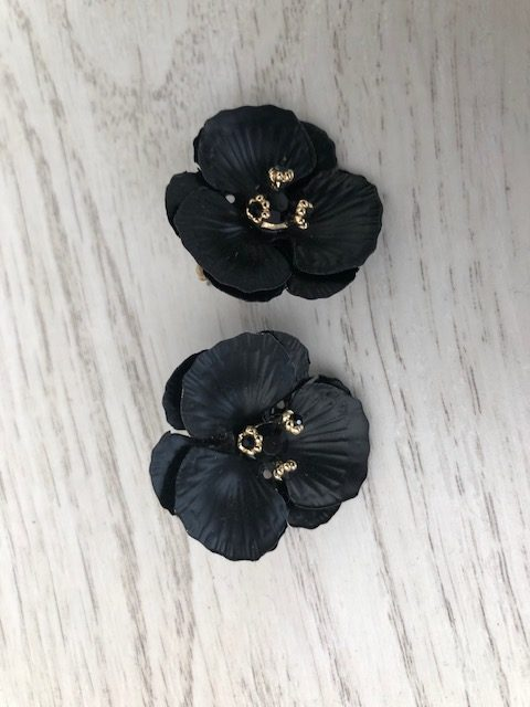 Boucles d'oreilles fleurs noires