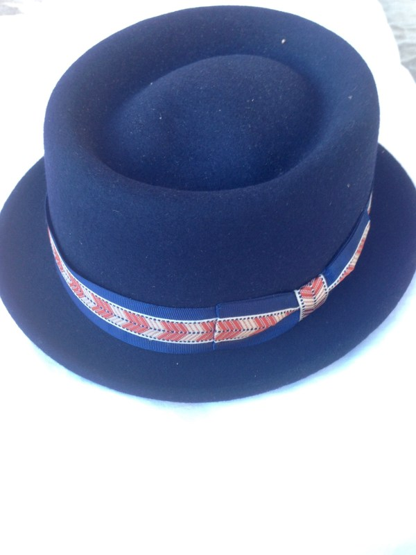 Felt hat blue ribbon