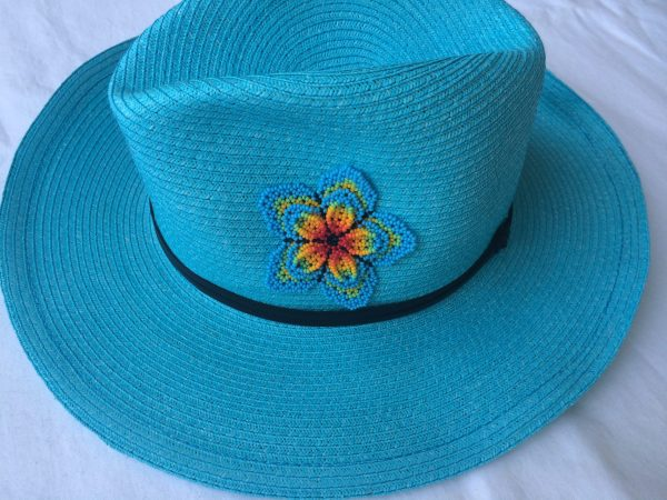 Turquoise hat model pop flower