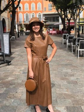 Robe longue marron