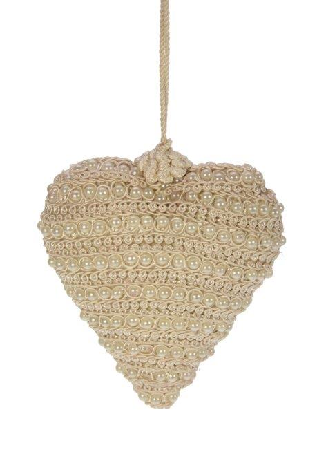 Coeur blanc en perles