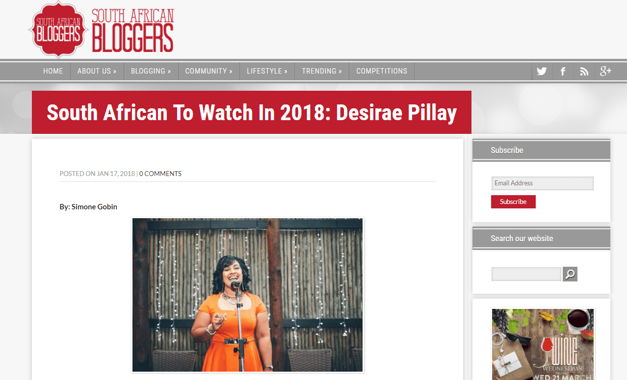 Named as a South African to Watch for 2018