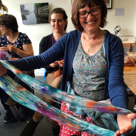 Jo, pictured left, has already knit her skein into a beautiful shawl.