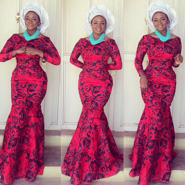 ovation aso ebi red and black lace style of the day