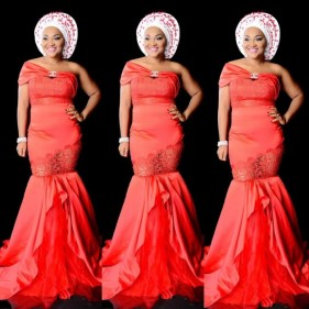 mercyaigbe in red aso ebi amillionstyles