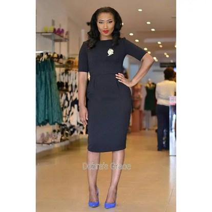 Corporate Wears From Debra Grace - Black Matted Wiggle Dress UK