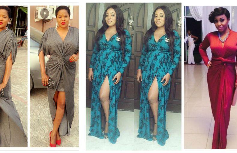nigerian celebrity Slaying wrap dress amillionstyles