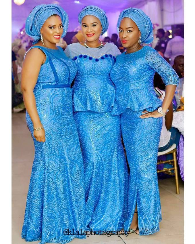 Beautiful Blue Aso Ebi Colour Trending This Month.