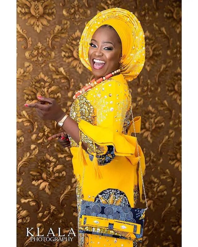 We Are In The Fashion faze Of Slaying Beautiful Yellow Aso Oke
