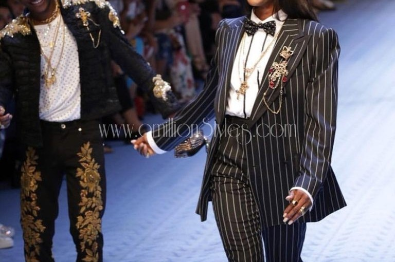 Wizkid Models For Dolce And Gabbana At Milan Fashion Week