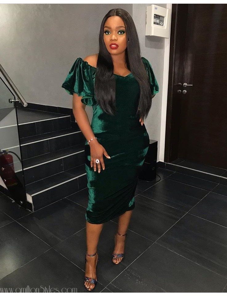 Look Of The Day: Bisola Aiyeola In Green Velvet