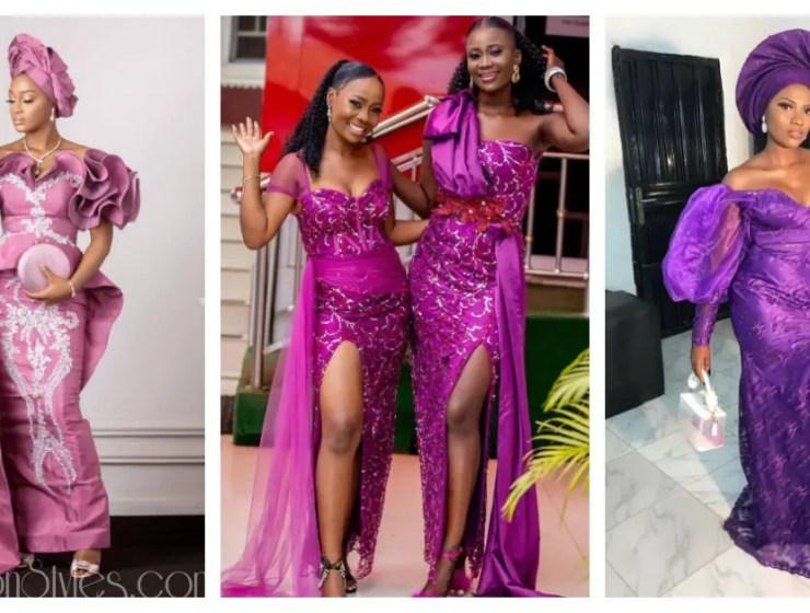 Asoebi Styles To Sew With Purple Lace Asoebi