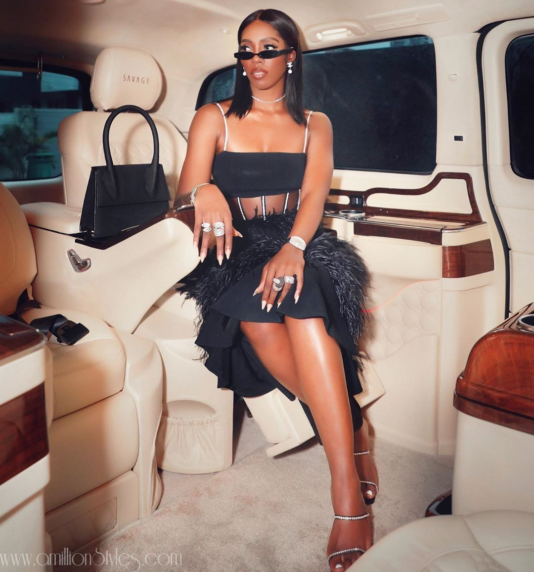 Number 1 African Bad Gyal, Tiwa Savage Sizzles In Black Sheer Outfit