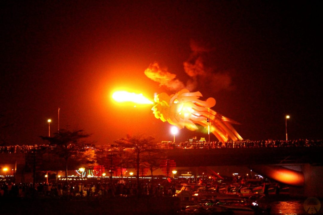 Dragon Bridge fire show DaNang