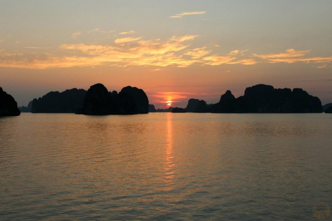 Sunset behind the islands