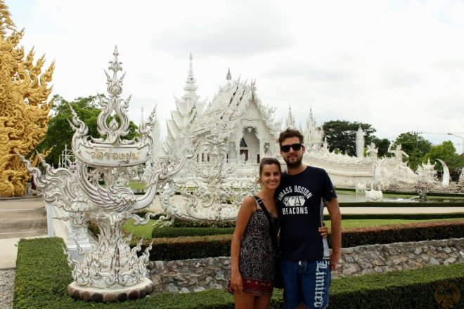 In front of the Wat Rong Khun, also known as White Temple