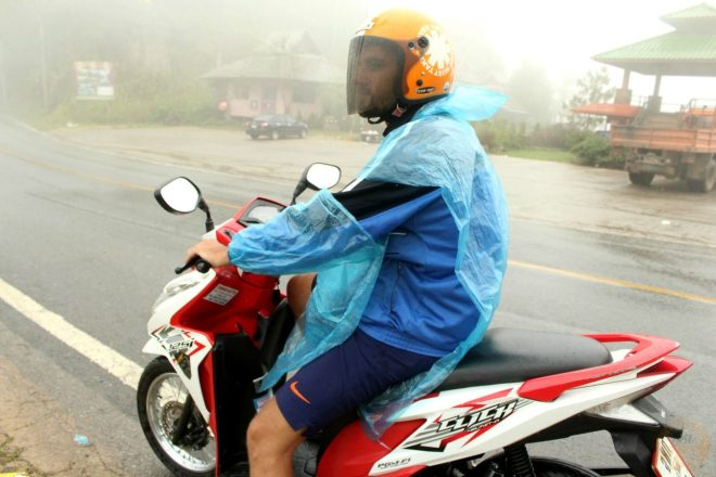 In the fog on our Honda Blade 125cc