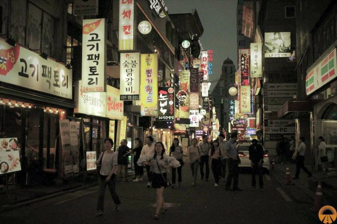 myeongdong street food market