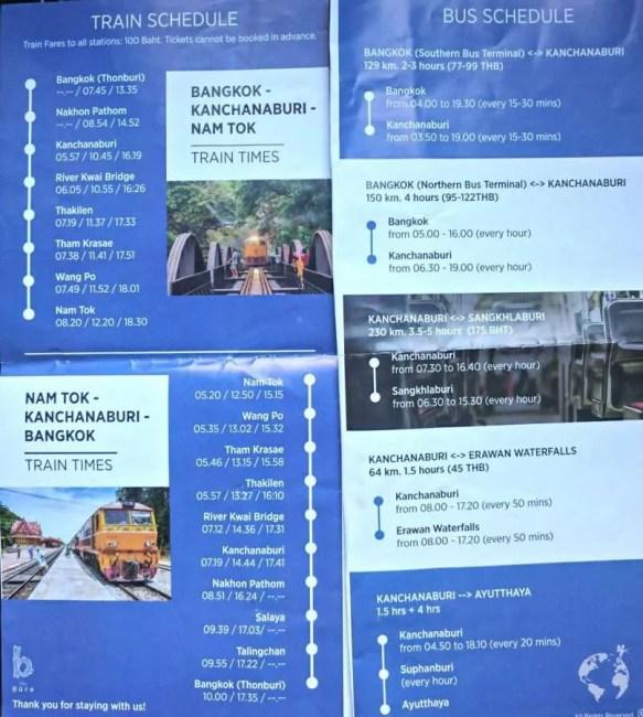 train times to kanchanaburi bridge on river kwai