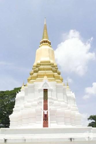 white gold temple ayutthaya by bike