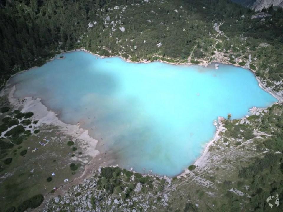dron lake sorapis dolomites