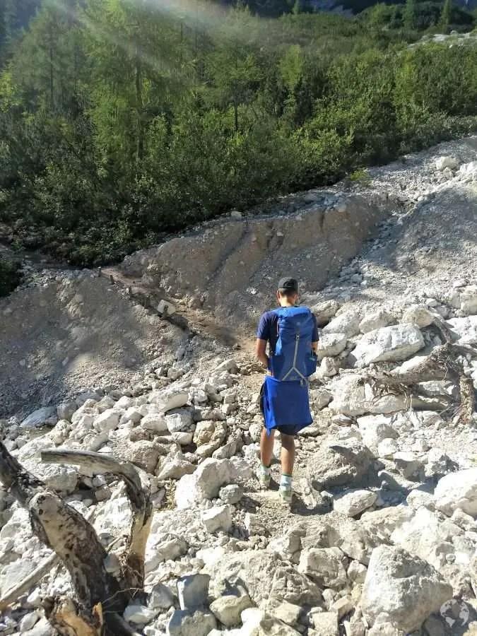 hiking trail Lake Sorapis Cortina Dolomites