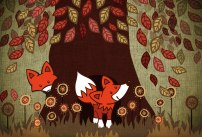 Foxes in a tree textured illustration by Ami-Lou Sharpe