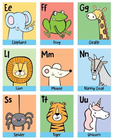 Alphabet print close up