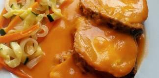aleta rellena y en salsa