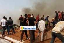 Une partie du marché d'Enta en feu
