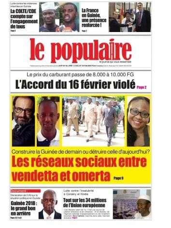A la Une du Populaire n°621-du-lundi-2-juillet-2018-Edition-internationale