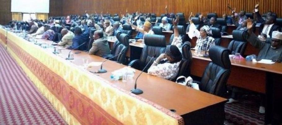 Des députés en train de voter à main levée à l'Assemblée nationale