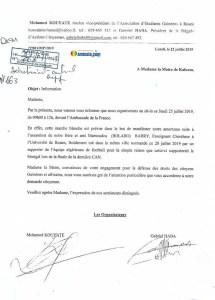 Courrier adressé à la maire de Kaloum pour une manifestation devant l'ambassade de France suite à l'assassinat de Mamoudou Barry à Rouen