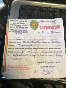 Une copie de convocation