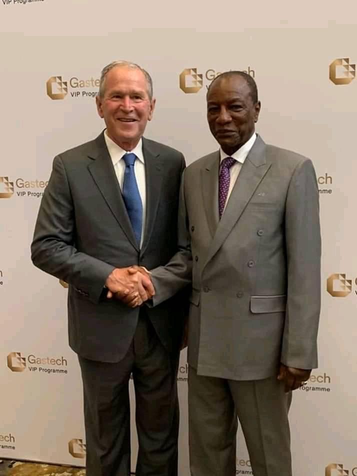 Alpha Condé et George Bush au Taxas