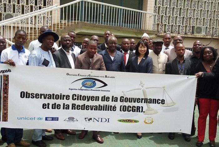 Des membres de l'observatoire Citoyen de la Gouvernance et de la Redevabilité (OCGR)