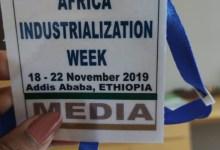 Un badge d'accrédidation de média lors du ancement de la semaine de l'industrialisation africaine 2019